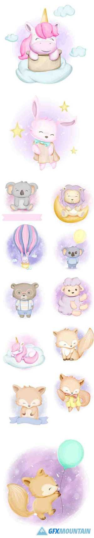 Watercolor Cute Baby Animals Illustration Set
