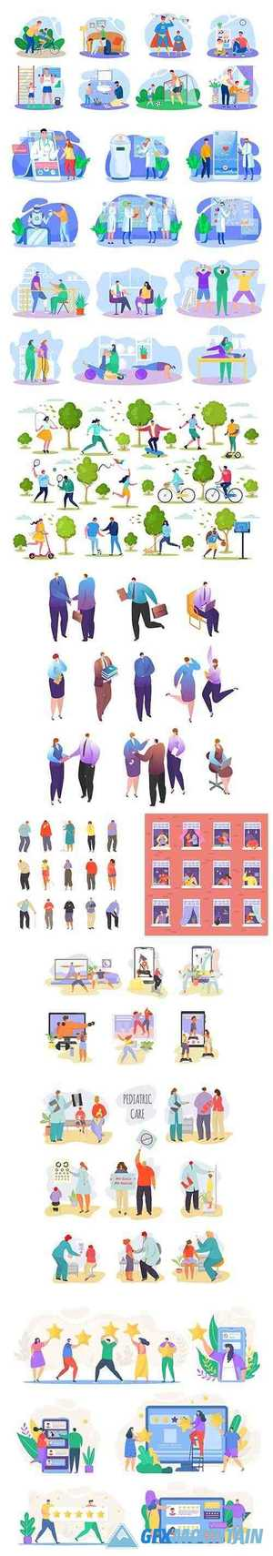 Flat Cartoon Illustration with People Set