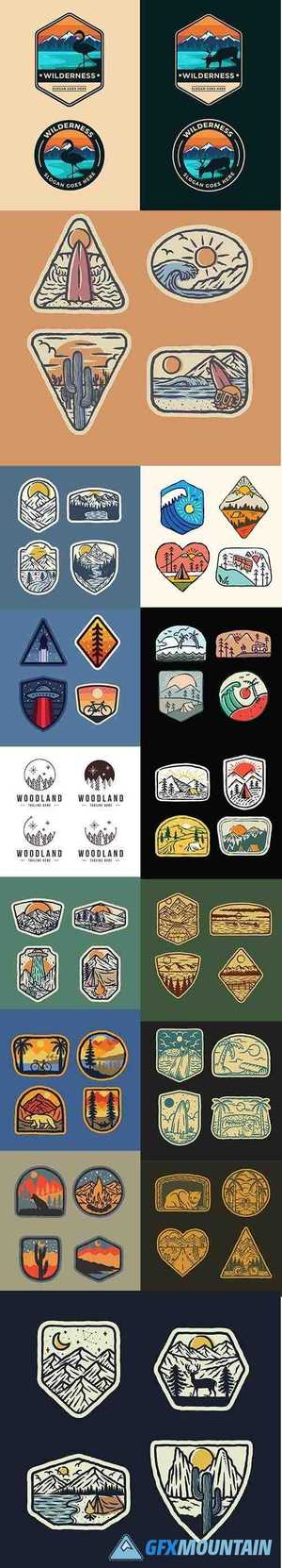 Camping, Mountain, Nature Wild Badge Graphic Illustrations Set