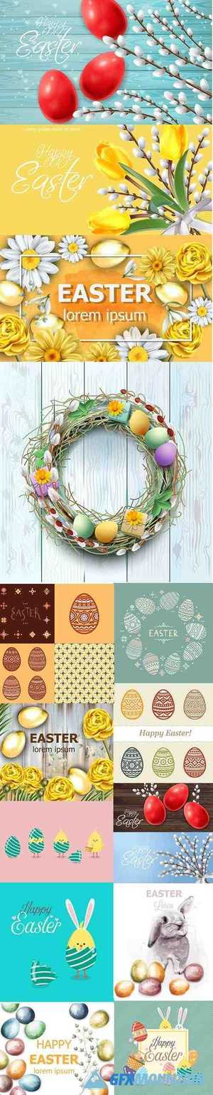Easter Vector Background and Seamless Pattern