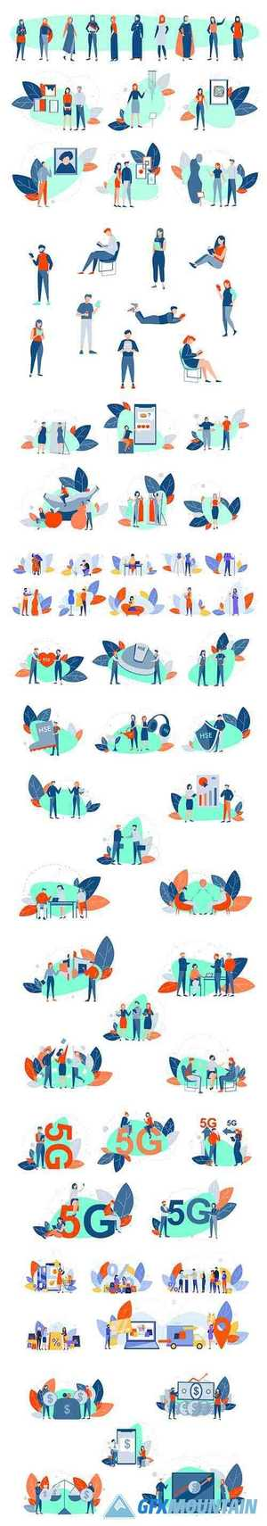 People Activities Concept Flat Illustration Set