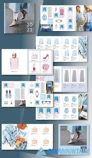 Square Product Catalog Layout with Gray and Blue Accents 333232395