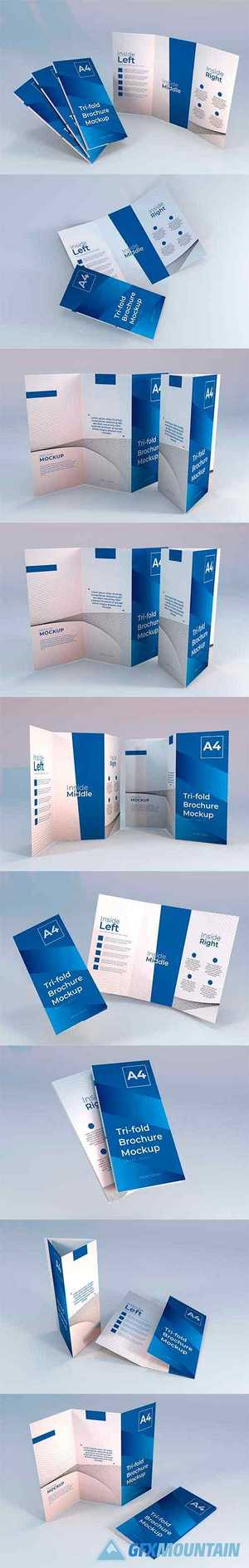 Realistic a4 trifold brochure mockup