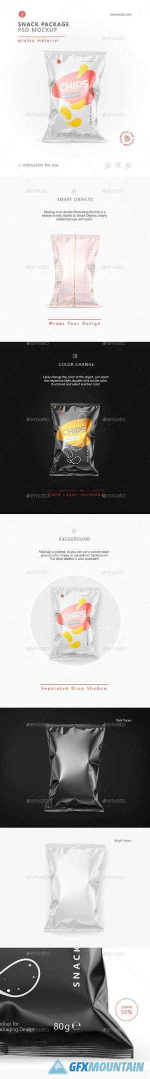 Glossy Snack Package Mockup - Front View 26538212