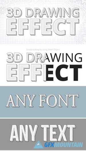 3D Technical Drawing Text Effect Mockup 315679376