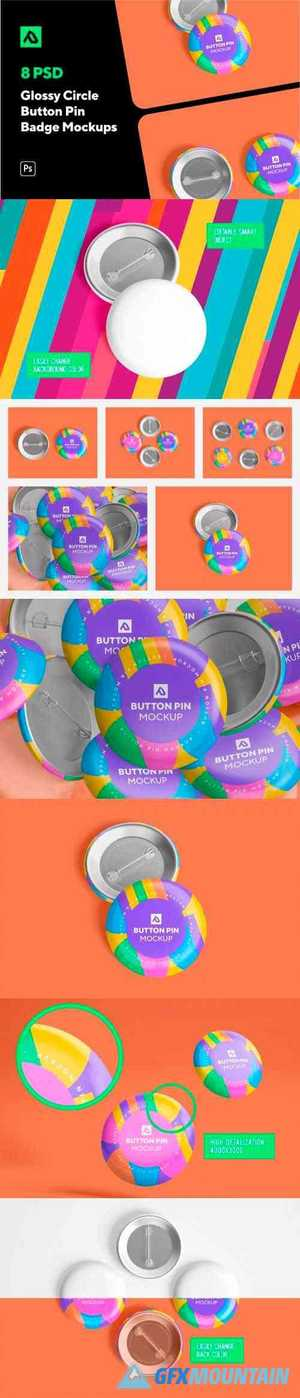 Glossy Circle Button Pin Badge Mockup Set 5000076