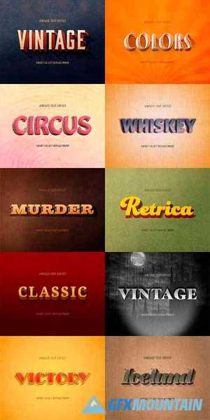 Vintage Retro Style Text Effect Mockup 354662539