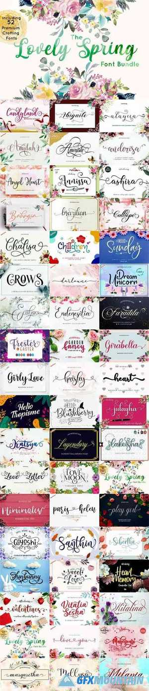 The Lovely Spring Font Bundle - Including 52 Premium Crafting Fonts