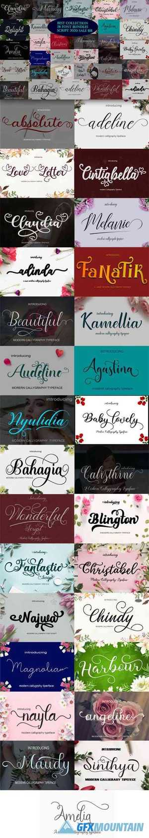 Best Collection 28 Premium Font Bundles Script 2020