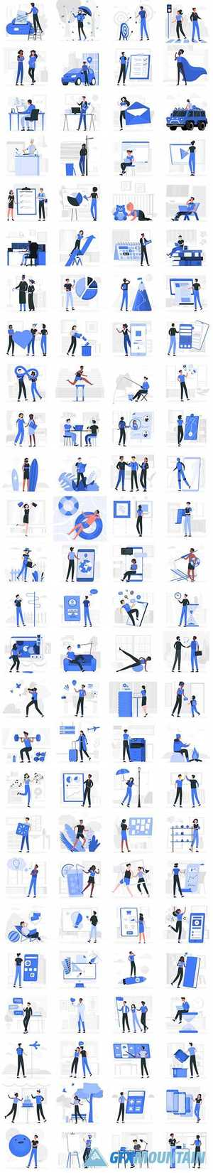 Vector Blu Illustrations People Concept