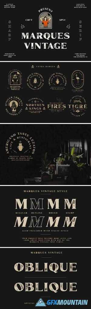 Marques Vintage Font Family + Extras 5061907