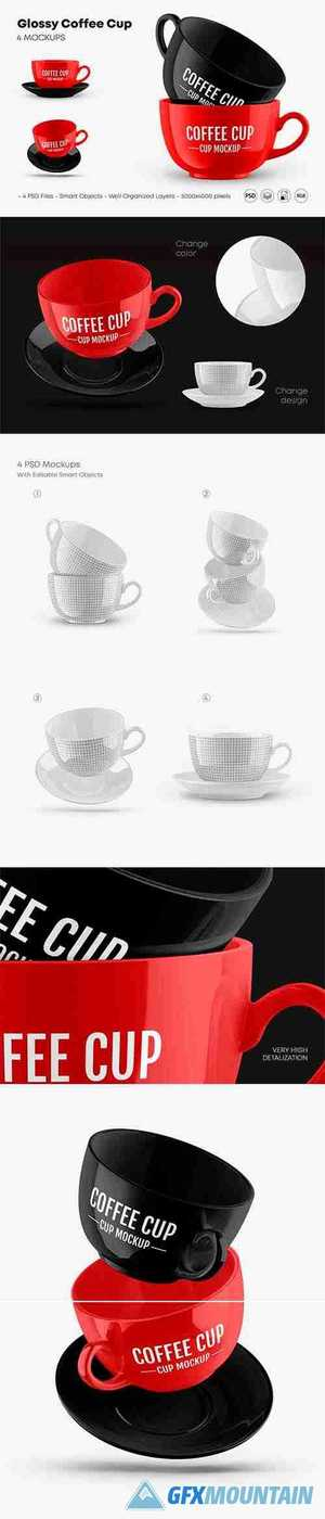 Glossy Coffee Cup Mockup Set