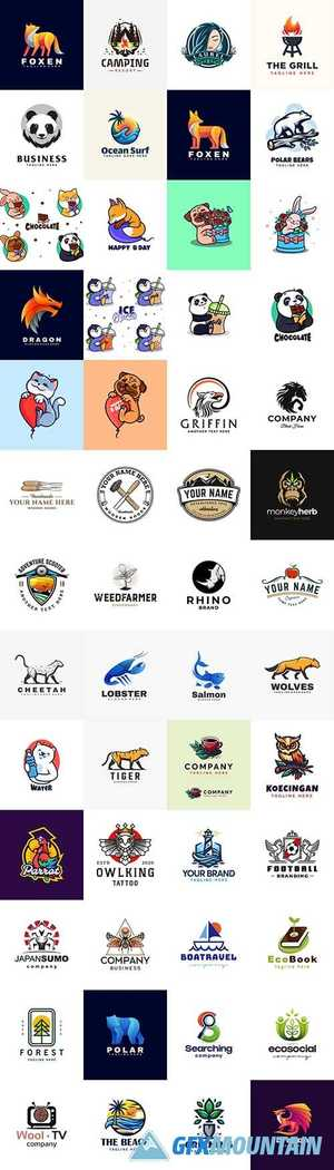 Brand name company animals logos business corporate design