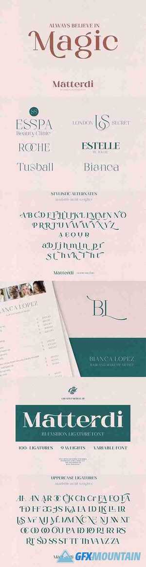Matterdi - Hi-Fashion Ligature font