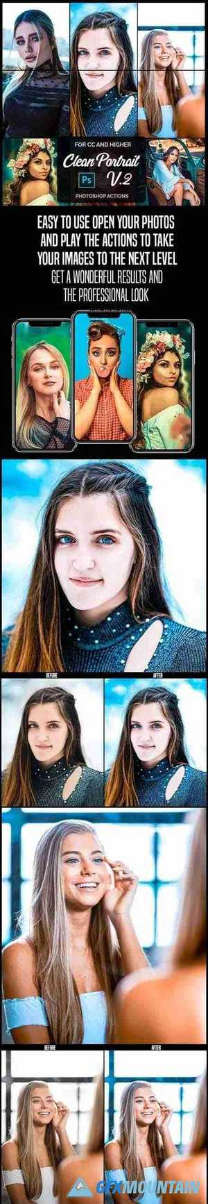 Clean Portrait V.2 - Professional Photoshop Actions 26399654