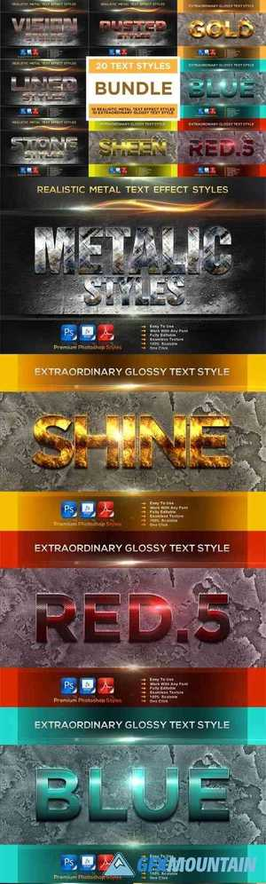 Metal & Extraordinary Glossy Text Effect Styles Bundle - 20 Premium Photoshop Styles