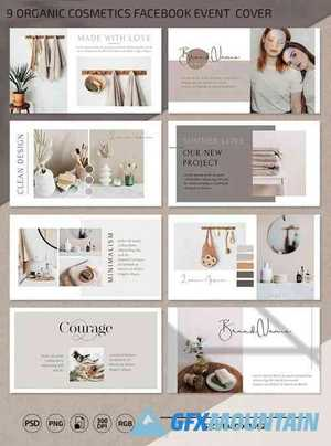 9 Organic Cosmetics Facebook Event PSD Cover Templates