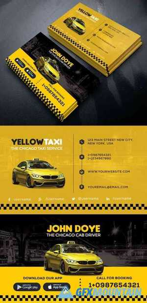 Yellow Taxi Service Creative Business Card PSD Template