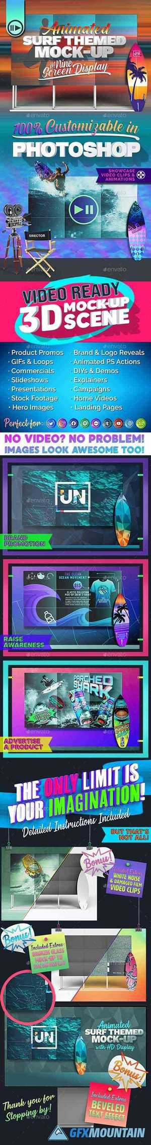 3D Animated Surfboard and HD Display Mock-Up Scene Template 27056336