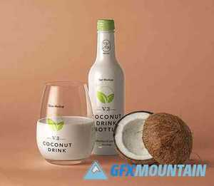 Coconut Drink Bottle Mockup
