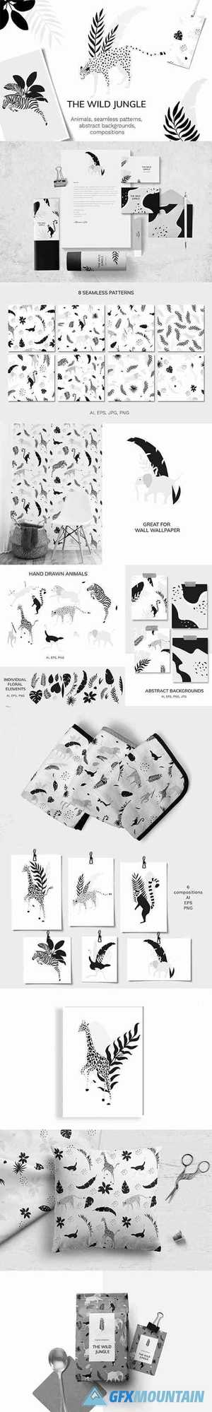 Jungle animals vector set 4807845