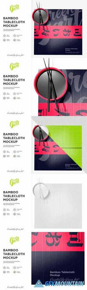 Bamboo Tablecloth Mockup - Top View 2331533