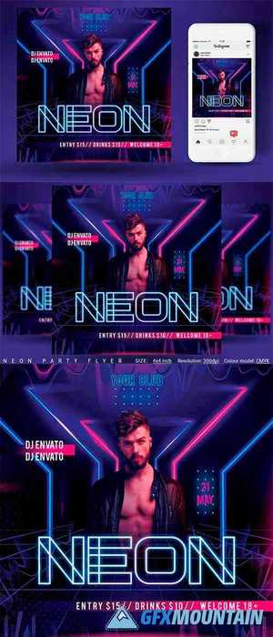 Neon Party Flyer 4592786