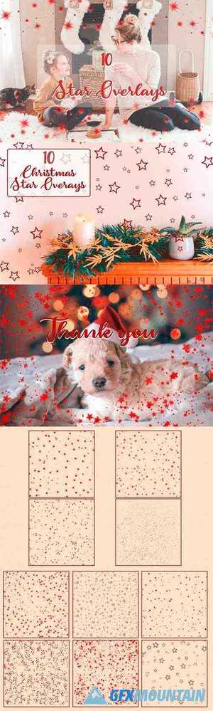 Star Photo Overlays | Red Metallic Star Overlays