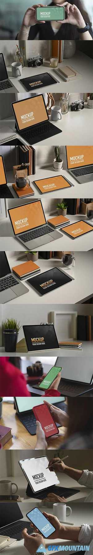 Smartphone laptop and tablete mockup