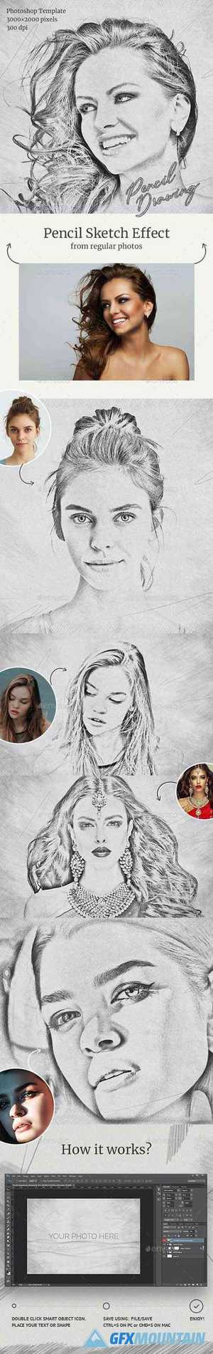 Pencil Drawing Photoshop Template 28663627