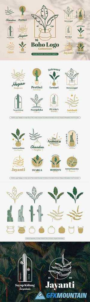 Boho Botanical Badges Logo