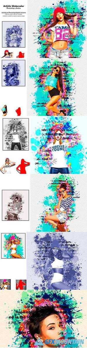 Artistic Watercolor Photoshop Action 5236288