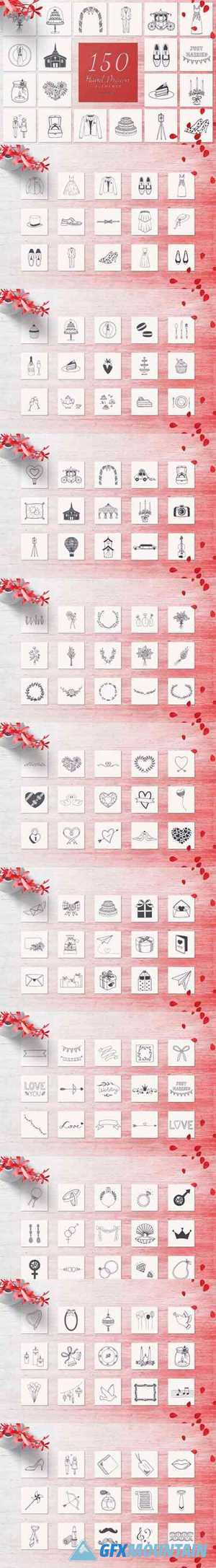 150 Hand Drawn Elements Wedding 6578819