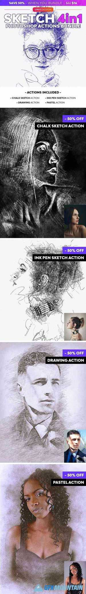 Sketch 4in1 Photoshop Actions Bundle 29408321