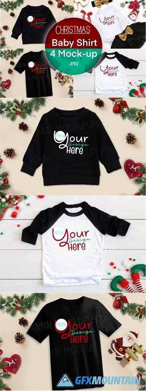 4 Christmas Black Baby Shirt Mock Up 6919200