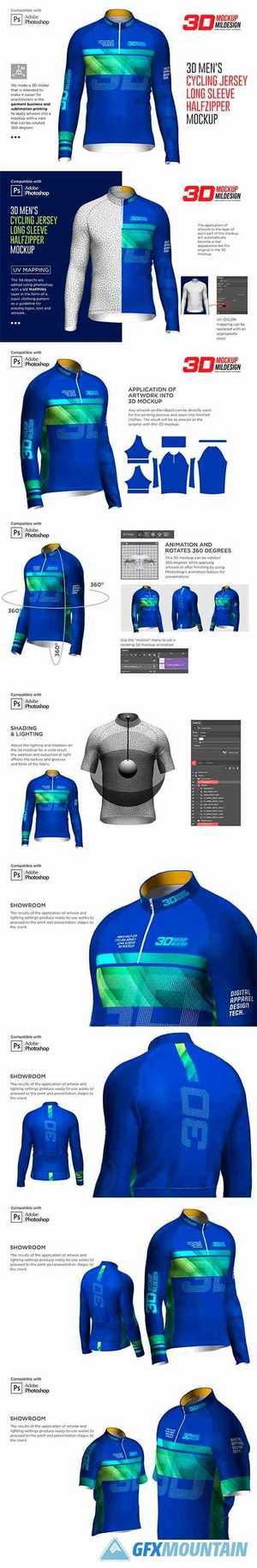 3D Mens Cycling Jersey Half-zip LS 5539751