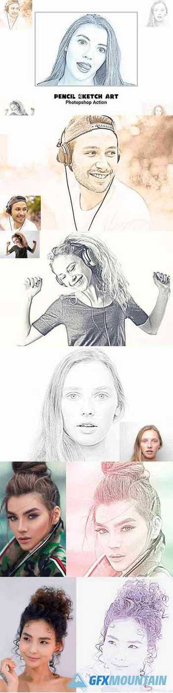 Pencil Sketch Art Photoshop Action 5129372