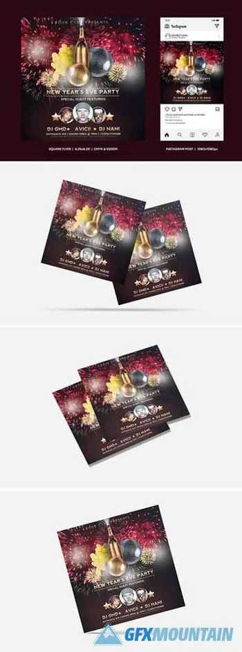 New Year Eve Square Flyer & Insta Post