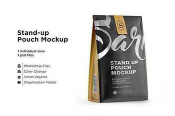 Stand up matte pouch with mockup