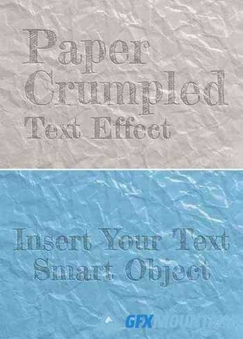 Debossed Text Effect on Crumpled Paper Sheet Texture Mockup 403658451