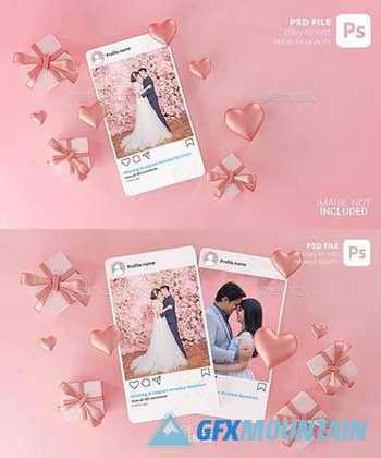 Instagram Post Mockup Template Valentine Wedding Love Heart Shape and Gift Box 3D Rendering 30090323