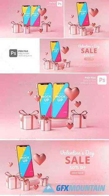 Smartphone Mockup Valentine Day Sale Love Heart Shape and Gift Box 3D Rendering 30090503