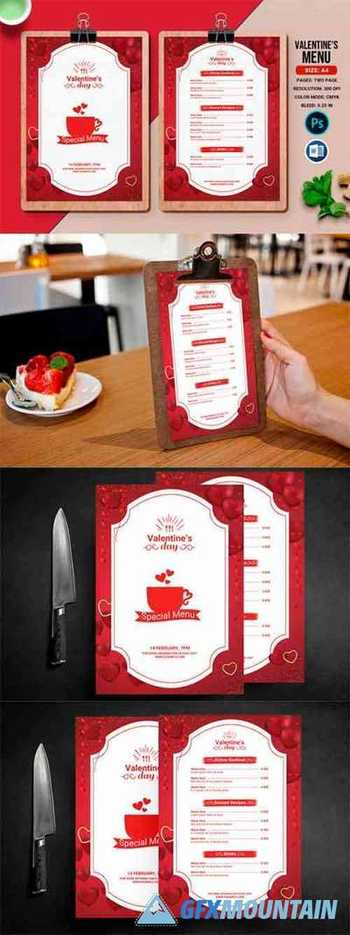 Valentines Day Party Menu Flyer 8033652