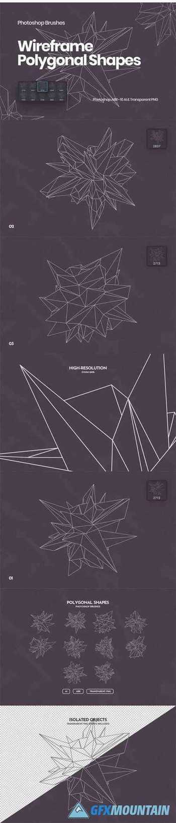 Wireframe Polygonal Shapes Photoshop Brushes