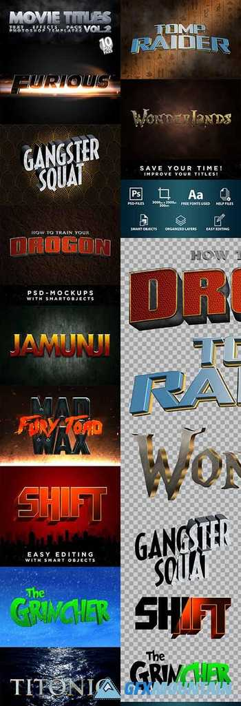 MOVIE TITLES - Vol.2 | Text-Effects/Mockups | Template-Pack 30213890