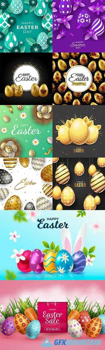 Happy Easter collection of realistic illustrations with eggs