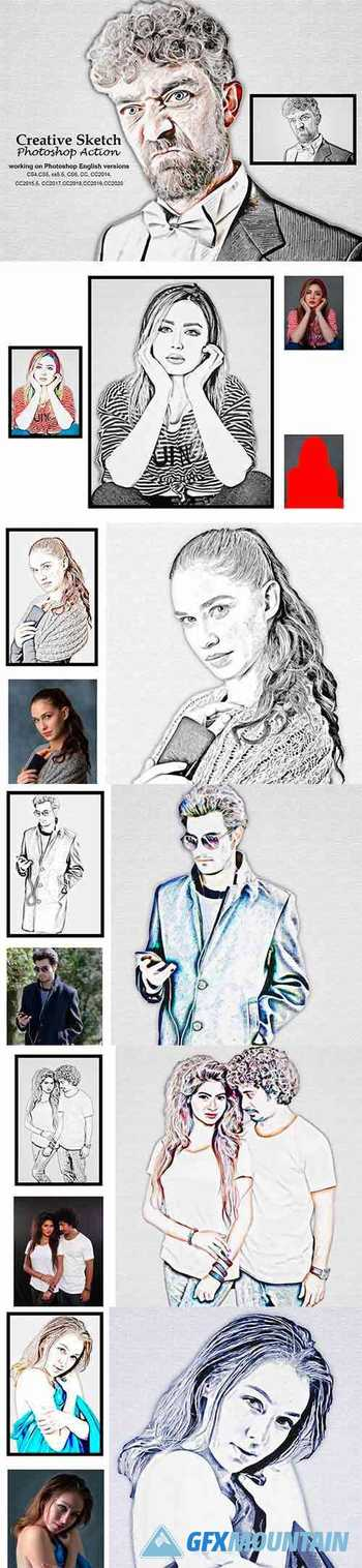 Creative Sketch Photoshop Action 5192355
