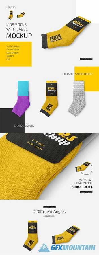 Kids Socks with Label Mockup Set 5909806