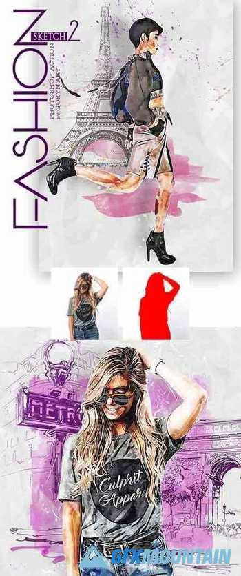 Fashion Sketch 2 Photoshop Action 30333957