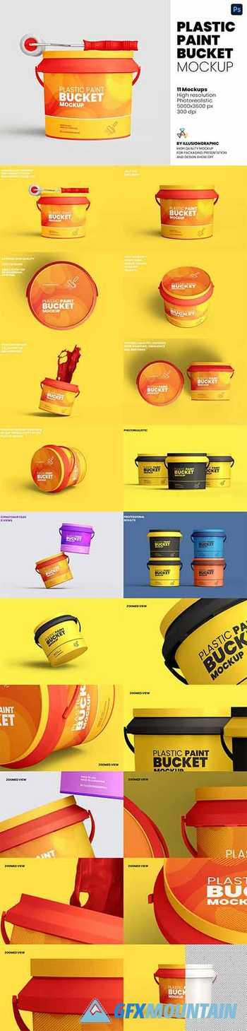 Plastic Paint Bucket Mockup 5976024